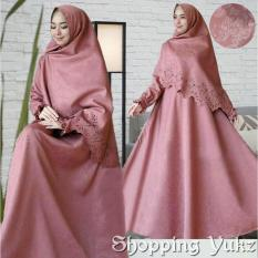 Shopping Yukz Baju Gamis Dress Muslim Syari Wanita RESYIA Emboss+Laser  - PINK ( Dapat Jilbab ) / Hijab Muslimah / Baju Muslimah Wanita / Syari Syari'i Muslim / Gaun Muslim / Long Dress Muslimah Wanita