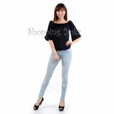 Shopping Yukz Atasan Baju Sabrina Polos Wanita MIRANDA - HITAM / Baju Sabrina Wanita / Baju