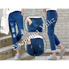 Beli Shopping Yukz Celana Jeans Ripped Ninda Dark Blue Celana Panjang Ripped Jeans Celana Baggy Online Murah
