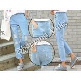 Beli Shopping Yukz Celana Jeans Ripped Ninda Soft Blue Celana Panjang Ripped Jeans Celana Baggy Nyicil