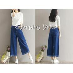 Shopping Yukz Celana Kulot Jeans Wanita Yoona - DARK BLUE / Celana Jeans / Kulot Jeans / Celana Panjang / Fringe Pants
