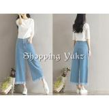 Review Toko Shopping Yukz Celana Kulot Jeans Wanita Yoona Soft Blue Celana Jeans Kulot Jeans Celana Panjang Fringe Pants Online