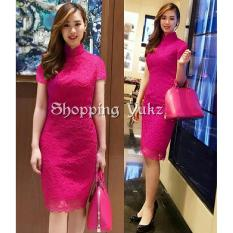 Shopping Yukz Dress Brukat Wanita ELBIE - FANTA / Dress Korea / Dress Renda / Lace Dress / Gaun Pesta