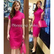 Shopping Yukz Dress Brukat Wanita ELBIE - FANTA / Dress Korea / Dress Renda / Lace Dress / Gaun Pesta