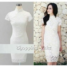 Shopping Yukz Dress Brukat Wanita ELBIE PUTIH / Dress Korea / Dress Renda / Lace Dress / Gaun Pesta / Gaun Midi / Gaun Murah / Gaun Murah / Dress Cewek / Gaun Remaja