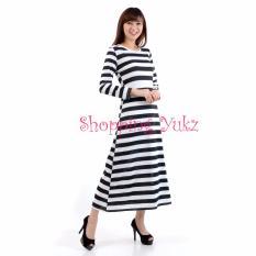 Harga Shopping Yukz Dress Maxi Wanita Mashya Salur Hitam Putih Online Dki Jakarta