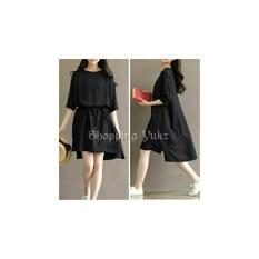 Shopping Yukz Dress Wanita LEIYA - HITAM / Dress Mini Wanita / Dress Tunik Wanita / Tunik Wanita Murah / Kemeja Tunik Wanita / Dress Korea / Dress Murah / Atasan Dress Wanita / Gaun Remaja / Gaun Cewek / Gaun Wanita Murah