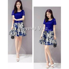 Shopping Yukz Dress Brukat Wanita MEILI NAVI / Dress Korea / Dress Renda / Lace Dress