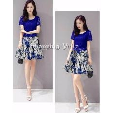 Shopping Yukz Dress Brukat Wanita MEILI NAVI Korea Renda Lace