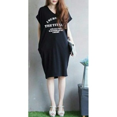 Shopping Yukz Midi Dress Wanita VIVE - BLACK / Dress Kaos Wanita / Dress T-shirt Wanita / Gaun Kaos Wanita / Dress Santai Wanita / Gaun Remaja/ Gaun Kasual / Dress Casual Wanita / Dress Murah / Dress Gaul / Dress Modern / Gaun Murah / Gaun Modern