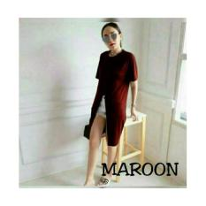 Shopping Yukz Midi Dress Gaun Wanita ZIZA - MAROON / Dress Korea / Gaun Pesta / Gaun Midi / Gaun Murah / Gaun Murah / Dress Cewek / Gaun Remaja