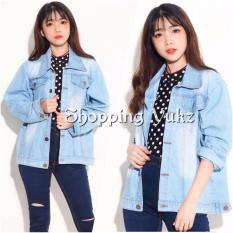 Shopping Yukz Jaket Jeans Big Size Wanita RARA - SOFT BLUE (Kualitas Premium) / Jaket Jumbo / Oversize Jacket / Jaket Wanita / Jaket Denim / Jeans Jacket