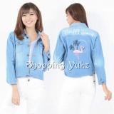 Promo Shopping Yukz Jaket Jeans Wanita Cana Flamingo Soft Blue Jaket Wanita Ripped Jaket Jaket Denim Jeans Jacket Murah