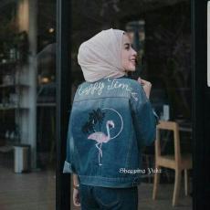 Shopping Yukz Jaket Jeans Wanita Flamingo - DARK BLUE ( Kualitas Premium) / Jaket Wanita