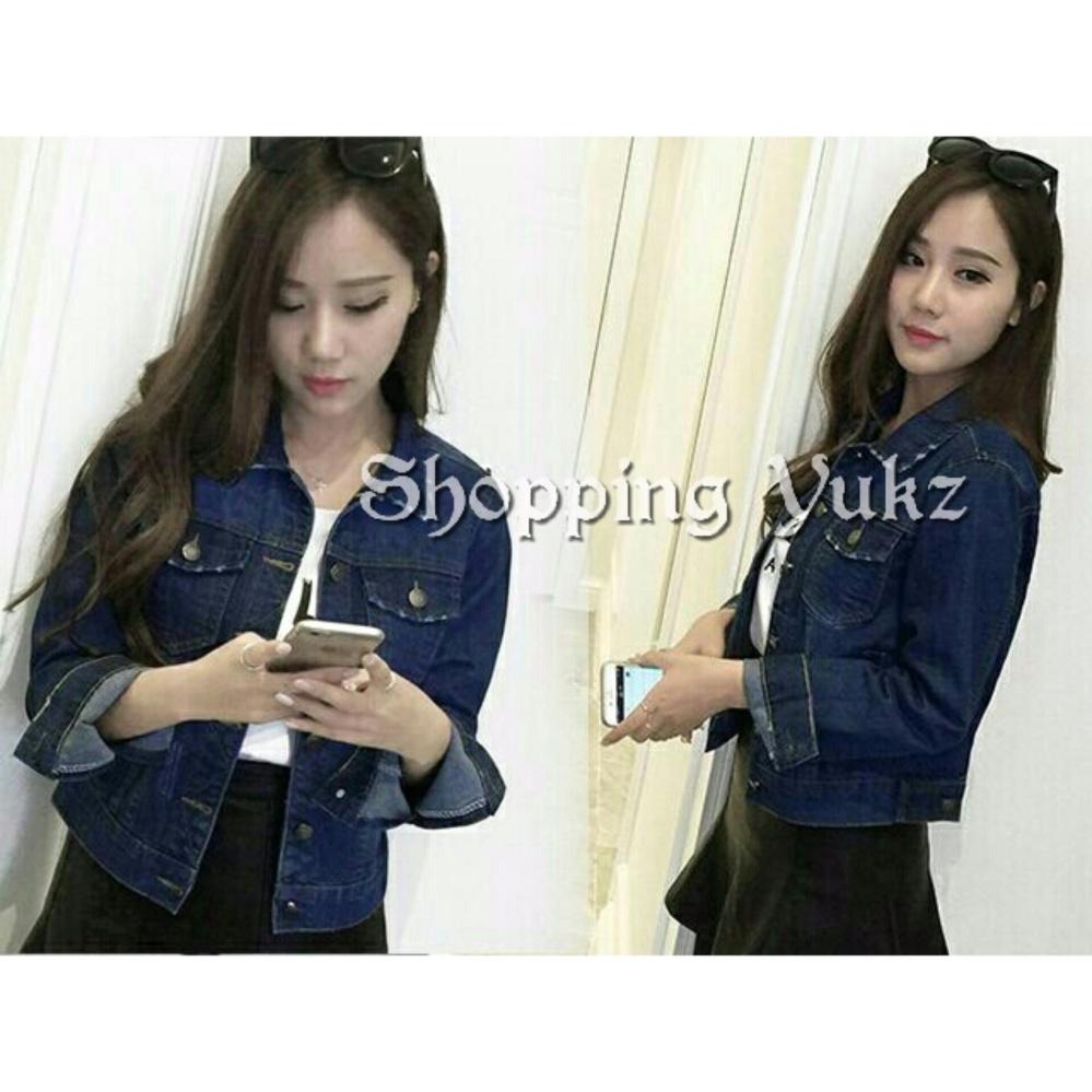 ... Shopping Yukz Jaket Jeans Wanita Neila - Dark Blue