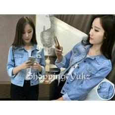 Harga Shopping Yukz Jaket Jeans Wanita Neila Soft Blue Termurah
