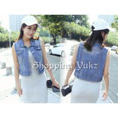 Toko Shopping Yukz Jaket Rompi Jeans Wanita Vian Dark Blue Kualitas Premium Rompi Denim Outer Cardigan Rompi Wanita Jeans Vest Online Sulawesi Selatan