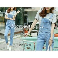 Shopping Yukz Jumpsuit Wanita Evalia Overall Jeans - Soft Blue ( Tanpa Inner/Baju dalam) / Jumpsuit Jeans/ Baju Kodok
