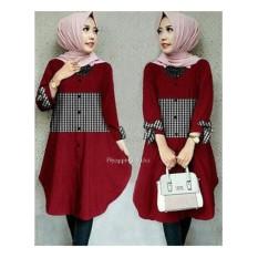 Shopping Yukz Kemeja Tunik Wanita Lengan Panjang PITA - MAROON ( Tanpa Pasmina) / Atasan Muslimah / Kemeja Kerja Wanita / Baju Muslim Wanita / Kemeja Casual Wanita / Atasan Wanita / Tunik Murah / Tunik Kotak