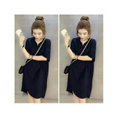 Shopping Yukz Kemeja Wanita Long Aurora - Black