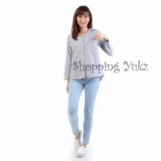 Harga Shopping Yukz Kemeja Wanita Monica Salur Hitam Di Dki Jakarta