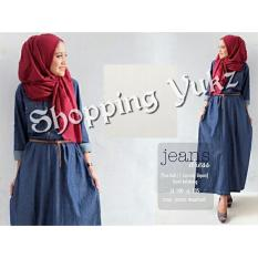 Shopping Yukz Long Dress Maxi Muslim Aryana - Free Belt (Tanpa Pasmina) - DARK BLUE / Baju Gamis Jeans/ Baju Gamis Denim / Dress Muslim / Long Dress / Maxi Dress