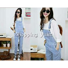 Shopping Yukz Overall Jumpsuit Jeans Wanita Claudi Tanpa Inner Soft Blue Baju Kodok Jumpsuit Jeans Ripped Jeans Murah