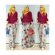 Shopping Yukz Setelan Kulot Wanita CORNELIA - MAROON ( Tanpa Pasmina) / Stelan Muslimah / Baju Muslim / Stelan Kulot
