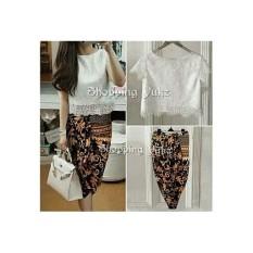 Shopping Yukz Setelan Lace dan Rok Batik Wanita VANNY - COKLAT / Stelan brukat / Rok Batik / Setelan Wanita / Setelan Batik / Baju Pesta