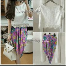 Shopping Yukz Setelan Lace dan Rok Batik Wanita VANNY - PINK / Stelan brukat / Rok Batik / Setelan Wanita / Setelan Batik / Baju Pesta