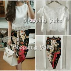 Shopping Yukz Setelan Lace dan Rok Batik Wanita VANNY - WHITE / Stelan brukat / Rok Batik / Setelan Wanita / Setelan Batik / Baju Pesta