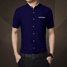 Spesifikasi Kemeja Lengan Pendek Fashion Musim Panas Turn Down Collar Plaid Cool Men Casual Shirt Pria Atasan Kerja Camisa Masculina Sy 1270 Dark Biru Intl Yang Bagus