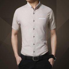 Jual Kemeja Lengan Pendek Fashion Musim Panas Turn Down Collar Plaid Cool Men Casual Shirt Pria Atasan Kerja Camisa Masculina Sy 1270 Off Putih Intl Branded Murah