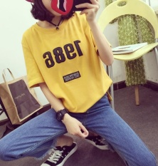 T-shirt Lengan Pendek Mantel Wanita Musim Panas Siswa Baru Huruf Kode Longgar T-