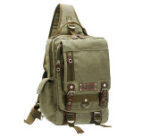 Harga Shoulder Messenger Backpack Canvas Leather Quality Bag For Ipad Dbh 30038 Army Green Terbaru