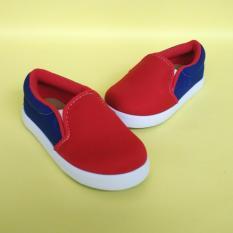 Jual Shuku Sepatu Anak Laki Laki Cowok Slip On Biru Merah Barcelona Baru
