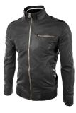 Cara Beli Sidnanes Slimfit Leather Jacket Casual Rib Hitam