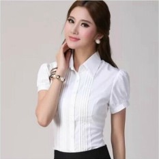 Beli Sifon Baru Ukuran Besar Slim Lengan Panjang Atasan Kemeja Putih Putih Polos Lengan Pendek Baju Wanita Baju Atasan Kemeja Wanita Blouse Wanita Oem Online