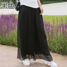 Kulot Korea Fashion Style Sifon Rok Celana Bagian Tipis Longgar (Hitam)