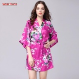 Beli Silk Satin Wedding Bride Bridesmaid Robe Floral Bathrobe Short Kimono Robe Night Robe Bath Robe Fashion Dressing Intl Tiongkok