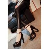 Jual Sederhana Sepatu Sepatu Hak Tinggi Ladies Single Round Extra High Heels Black Waterproof Platform Sepatu Single Tumit Dan Pernikahan Hitam Intl Grosir