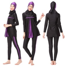 Sinoday 3 Pcs/set Ladies Full Cover Muslim Swimwears Swimsuits Beach Wear Panjang Hijab Sederhana Renang Burkini-Intl
