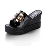 Beli Siswa Hak Tinggi Sandal Jepit Sandal Summer Hitam Sepatu Wanita Sandal Wanita Tiongkok
