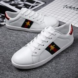 Spesifikasi Size 36 44 Men Women Casual Shoes High Quality Couple Flat Sneakers Leisure Bee Mbroidery White Shoes Comfortable Outdoor Sport Shoes Intl Beserta Harganya