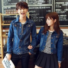 Review Toko Ukuran S 4Xl Baru Korea Fashion Pecinta Dicuci Denim Pakaian Pasangan Jeans Jacket Men Dark Blue Intl