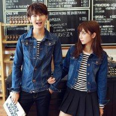Harga Ukuran S 4Xl Baru Korea Fashion Pecinta Dicuci Denim Pakaian Pasangan Jeans Jacket Men Dark Blue Intl Oem Online