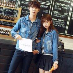 Toko Ukuran S 4Xl Baru Korea Fashion Pecinta Dicuci Denim Pakaian Pasangan Jeans Jacket Women Biru Muda Internasional Murah Tiongkok
