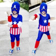 Size S Baju Kostum Setelan Anak Superhero Captain America+Topeng Kain