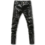 Skinny Mens Faux Kulit Pu Tight Black Joggers Biker Celana Untuk Pria Laki Laki Dengan Ritsleting Intl Vankuo Diskon 30