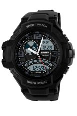 Beli Skmei Casio Men Sport Led Watch Water Resistant 50M Strap Silicone Hitam Ad1017 Secara Angsuran
